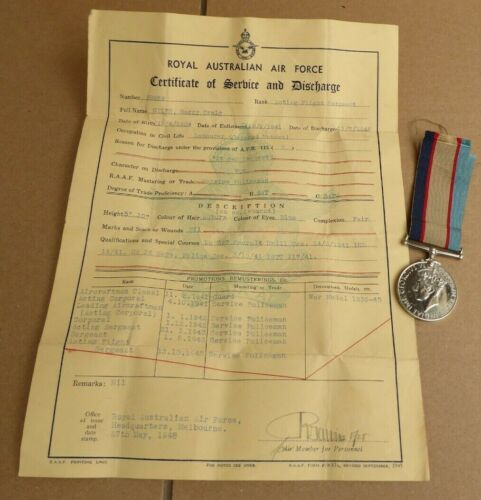 WW11 AIF AUSTRALIAN SERVICE MEDAL AND SERVICE DISCHARGE CERTIFICATE R.A.A.F 1939 - 1945 (WWII) - 13977
