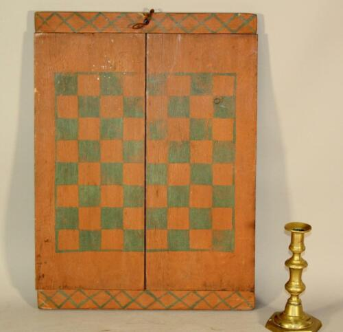 A NICE EARLY PRIMITIVE ANTIQUE PAINTED CHECKERBOARD GAME BOARD ORIGINAL PAINT