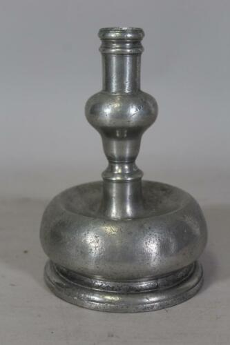 A FANTASTIC AND RARE 17TH C SPANISH PEWTER CAPSTAN CANDLESTICK IN OLD SURFACE