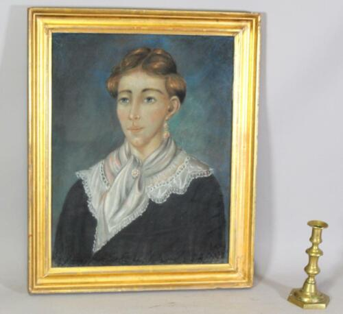 A GREAT 19TH C AMERICAN PASTEL ON PAPER PORTRAIT OF A YOUNG WOMAN IN BLACK DRESS