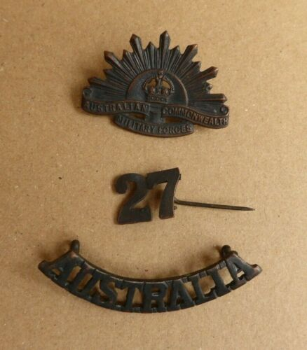 WW1 AIF AUSTRALIAN  SHOULDER TITLE 27TH NUMERAL AND RISING SUN COLLAR BADGE1914 - 1918 (WWI) - 13962