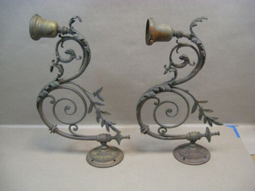 Antique Set Brass Wall Sconces Gas Lamps w/ Snake Dragon Griffin? For Electric
