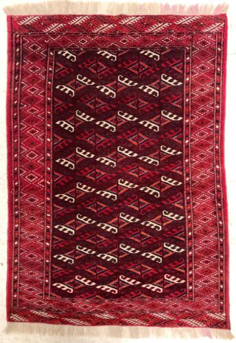 Hand Knotted  Maroon Red Tribal Wool Turkmen Area Oriental Rug 3.7 x 5