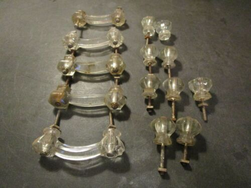 Lot Of 14 Vintage Clear Glass Drawer Pulls, Handles, Knobs