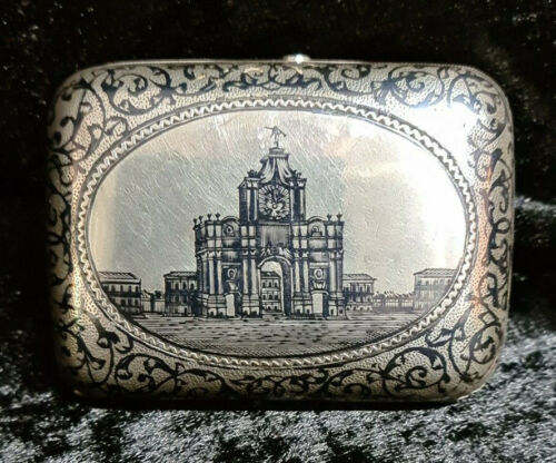 RUSSIAN SILVER NIELLO SNUFF BOX MARKED 84 DEPICTING RUSSIAN PALACE