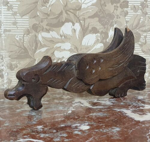 Griffin Vintage wood carving Wall sconce Gothic style Gargoyle Gryphon