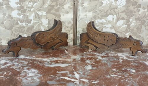Griffin 2 Vintage wood carving Lighting Gothic Gargoyle Gryphon Medieval style