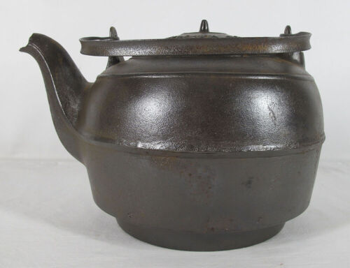 Antique National Stove Works Cast Iron Tea Kettle #8 For Old Wood Stove Top yqz