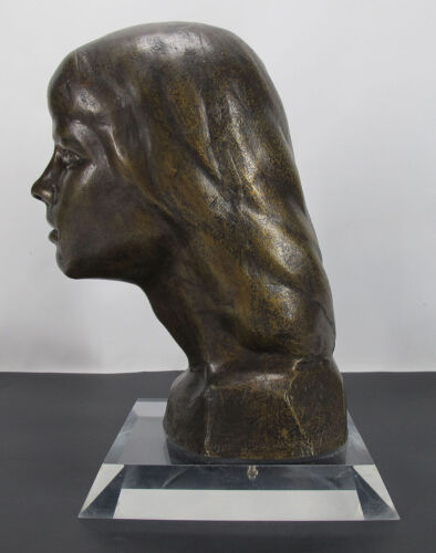 ORIG Victor Salmones (1937-1989) Mexican Sculptor Bronze Bust Young Girl NR yqz <br/> Signed Numbered Only 10 Were Cast This Is #5 Of Those