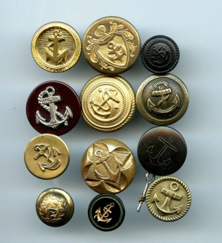 12 AWESOME ASST'D buttons--ALL WITH ANCHOR DESIGNS--VI--METAL--GLASS--COMP
