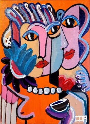 CUBIST EXPRESSIONIST FINE ART GALLERY CONTEMPORARY COLLECTIBLE  SIGNED CANVAS NR