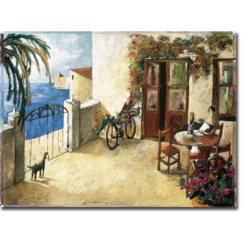 Dog and Bike by Didier Lourenco Gallery-Wrapped Canvas Giclee Art, 12 in x 16 in