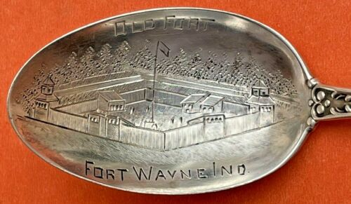 RARE OLD FORT WAYNE INDIANA STERLING SILVER SOUVENIR SPOON