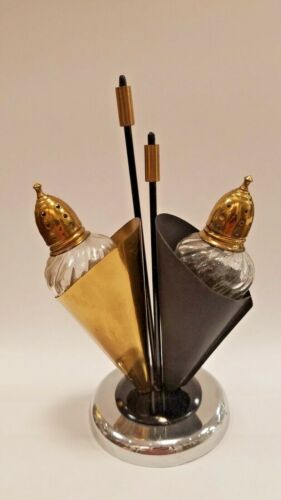 Rare Metal and Glass Umbrella Stand Salt And Pepper Shakers 1950s Japan