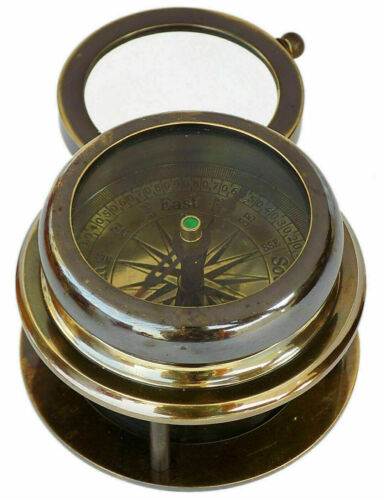 3 Inch Collectible Vintage Sliding Compass Antique  Brass Nautical Directional