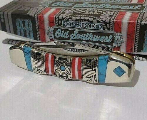 OLD SOUTHWEST HUNTING POCKET KNIFE W/ NICKEL SILVER TURQUOISE & DISPLAY CASE !!!
