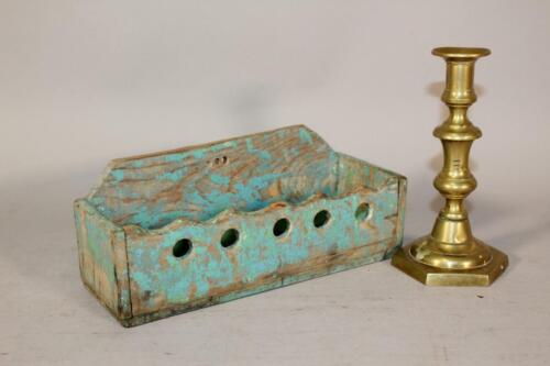 A NICE 19TH C PA HANGING WALL BOX IN OLD BLUE PAINT GREAT PRIMITIVE PIECE