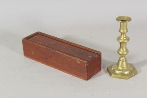 RARE 19TH C ENFIELD CT SHAKER SLIDING LID CANDLE BOX IN ORIGINAL RED SURFACE
