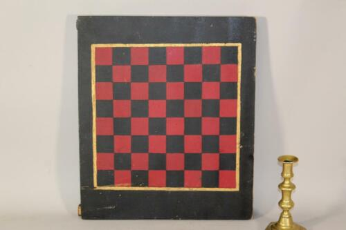 NICE 19TH C PRIMITIVE RED & BLACK PAINTED CHECKERBOARD GAME BOARD ORIGINAL PAINT