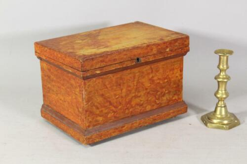 A RARE DECORATED 19TH C PA MINIATURE BLANKET CHEST IN ORIGINAL FANCY GRAIN PAINT