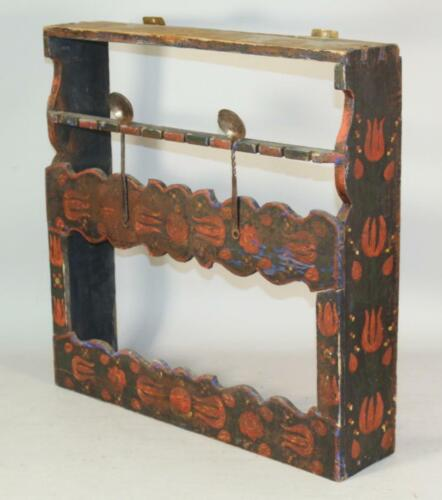 A VERY RARE 19TH C PA GERMAN PAINT DECORATED HANGING SPOON RACK AND CUPBOARD