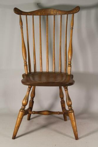 """BOLD 18TH C NEW YORK CITY FAN BACK WINDSOR SIDE CHAIR BOLD TURNING SIGNED """"HR"""""""