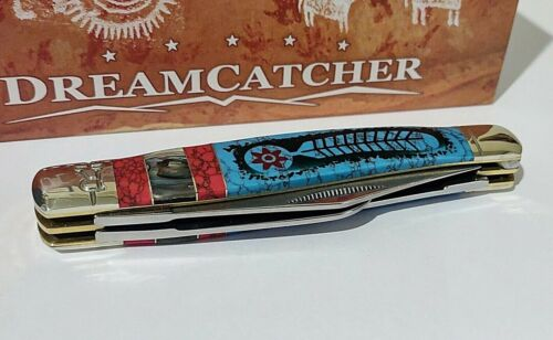 DREAMCATHER TURQOUISE ABALONE HUNTING POCKET KNIFE W/ DISPLAY CASE !!!