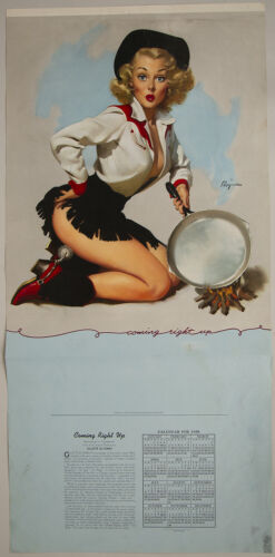 1958 Gil Elvgren Brown & Bigelow Pin-Up Poster Buxom Cowgirl Coming Right Up