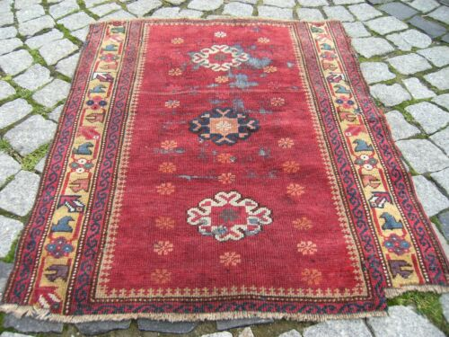 Fabulous Antique Awesome Rare Size Caucasian Collector's Piece Fragment  Rug