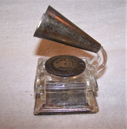 Fine Antique Glass Candy Container / Inkwell - Phonograph - Home Sweet Home
