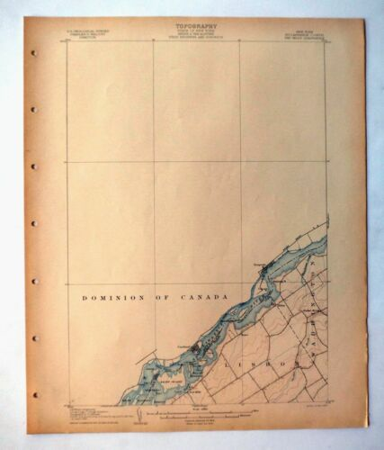 1906 Red Mills Saint Lawrence River New York Antique USGS Topographic Map Topo
