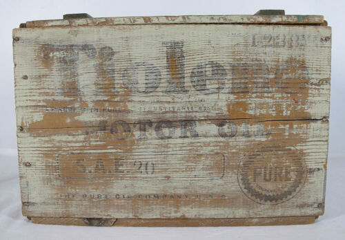 Antique RARE Pure PA TIOLENE Wooden Crate Motor Oil Can/Bottle Carrier Sign yqz