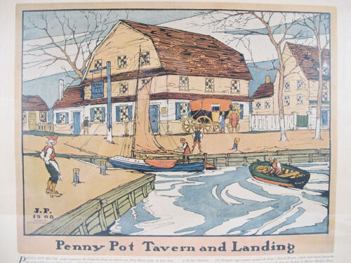 Antique 1909 Robert Smith Ale Ad Penny Pot Tavern&Landing Lithograph Print#4 yqz <br/> Fourth of Four by James Moore Preston (1873-1962)