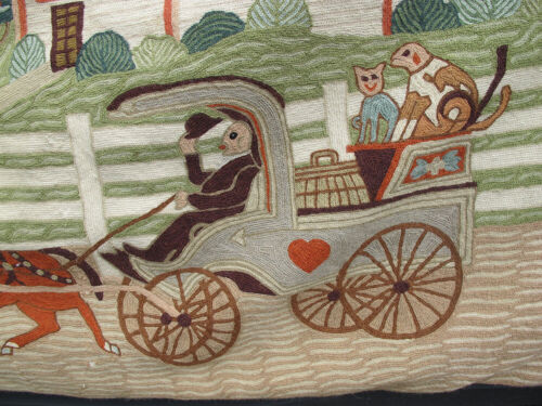 """Vintage Crewel/Chain Stitch Folk Art Rug Hanging American Country Farm&Buggy yqz <br/> 80"""" x 66"""" Great Look Has Hanging Sleeve on Back"""