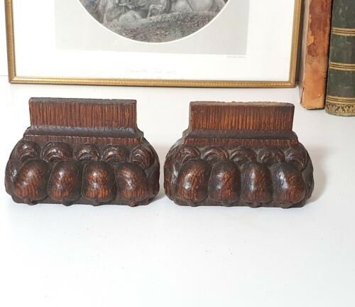 17th C Antique wood furniture leg foot pair Salvaged wooden carving Lion claw