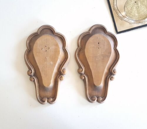 Pair of antique carved wood shield plaque for hunting trophy, wall display stand