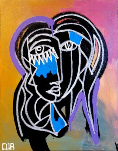SILHOUETTE EXPRESSIONISM PORTRAIT FINE COLLECTOR GALLERY HOME MODERNISM CANVAS