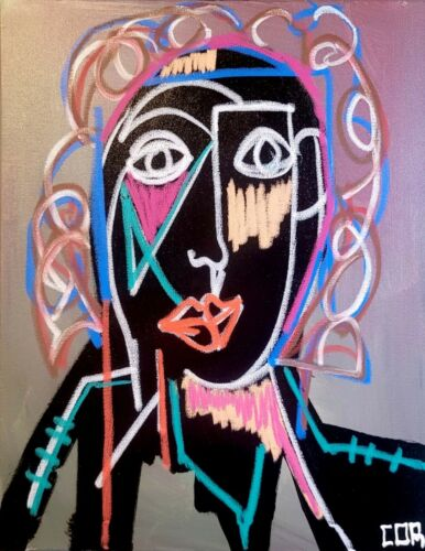 LARGE SILHOUETTE EXPRESSIONISM PORTRAIT FINE COLLECTOR GALLERY MODERNIST CANVAS