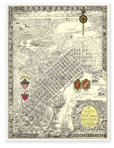Vintage Reprint Creole Map - City of New Orleans circa 1930 Art Print Poster