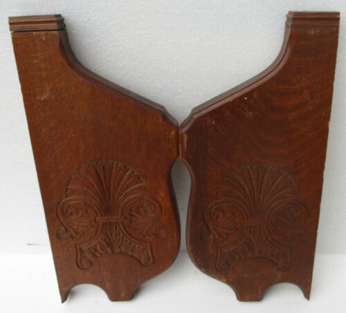 """pair of LARGE ANTIQUE VICTORIAN SHELL CARVED OAK CORBELS BRACKETS 20"""" high"""