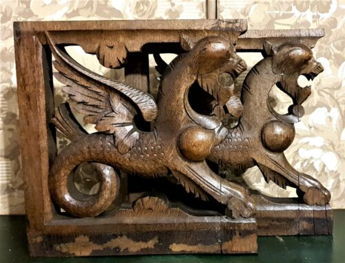 Pair dragon griffin carving corbel bracket Antique french architectural salvage