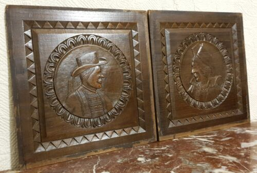 2 Britany breton face wood carving panel Antique french architectural salvage