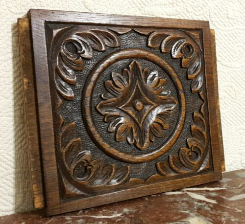 Scroll leaves rosette wood carving panel Antique french architectural salvage