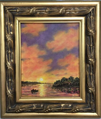 ROWING HOME - original framed oil painting on 10X8 canvasby K. McDermott