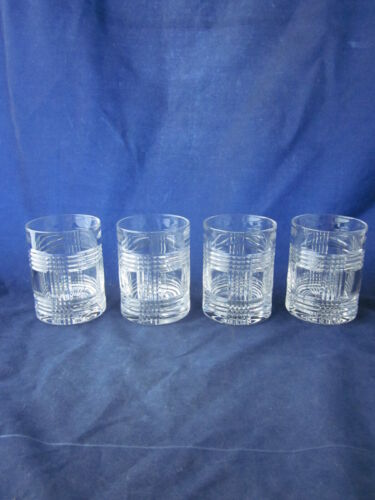 RALPH LAUREN Crystal Glen Plaid Double Old Fashioned Whiskey Glass (4) NO MARK