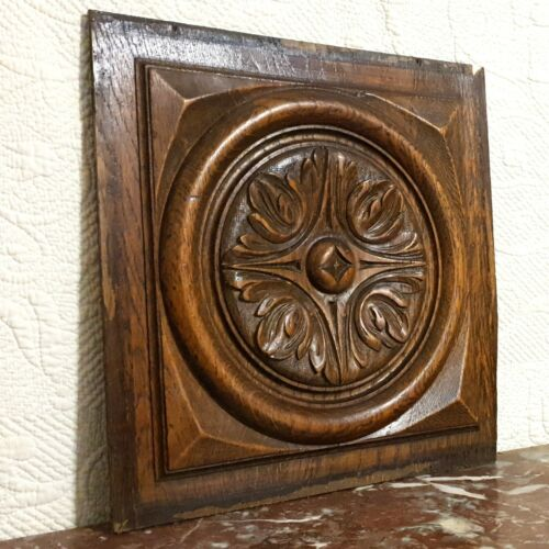Bullseye scroll leaves wood carving panel Antique french architectural salvage