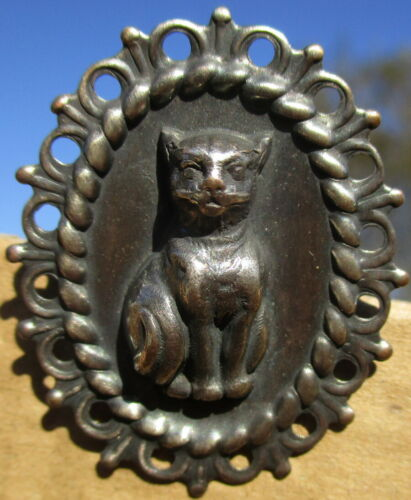 """1940s French~""""CAMEO CAT"""" Oval Vintage Antique Metal Picture Button"""