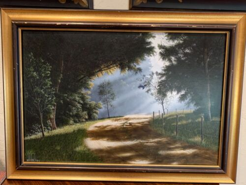 """Will Hinds oil painting on panel """"Sunlight On Forest Road"""" signed 1 OF HIS BEST"""
