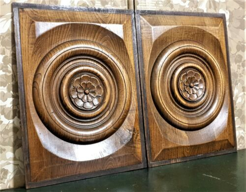 2 Flower concentric circle carving panel Antique french architectural salvage