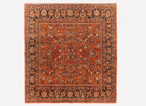 Hand Knotted Wool Rust Square Sarouk Oriental Rug Carpet 10 x 10